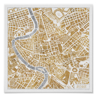 Gilded City Map Of Rome Poster