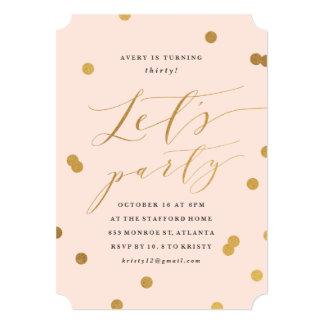 Gilded confetti birthday party invitations