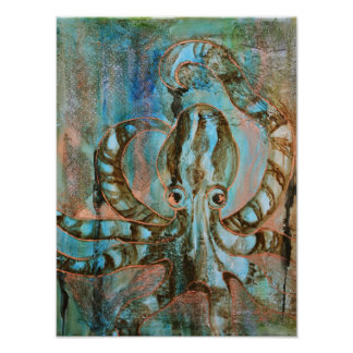 Gilded Creatures Mixed Media Octopus Poster Print