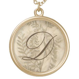 Gilded Foliage I Round Pendant Necklace