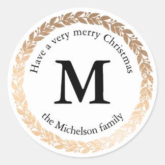 Gilded Garland Elegant Circle Monogram Round Sticker
