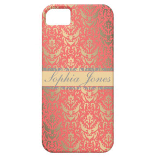 Gilded Peach Elegant Faux Shimmer Damask iPhone 5 Cases