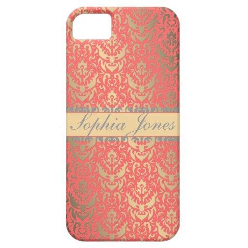 Gilded Peach Elegant Faux Shimmer Damask iPhone 5 Cases