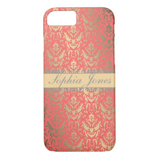 Gilded Peach Elegant Faux Shimmer Damask iPhone 8/7 Case