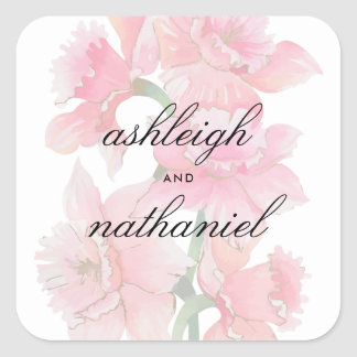 Gilded Pink Orchids | Romantic Vintage Wedding Square Sticker