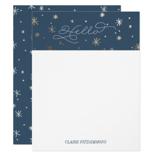Gilded Stars Personal Stationery, Night Sky Card