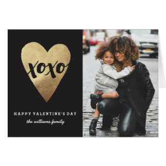 Gilded XOXO Valentine's Day Greeting Card - Black
