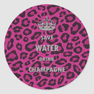 Gilry chic Save water drink champagne white Classic Round Sticker