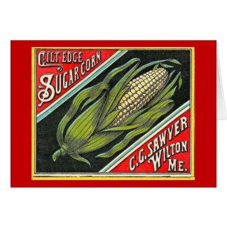 Gilt Edge Sugar Corn - Vintage Crate Label Greeting Card