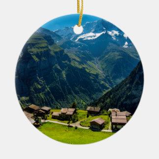 Gimmelwald In Swiss Alps - Switzerland Round Ceramic Decoration