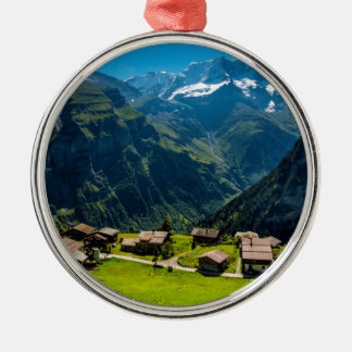 Gimmelwald In Swiss Alps - Switzerland Silver-Colored Round Decoration
