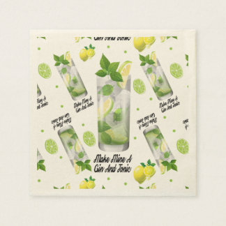 Gin And Tonic, Standard Cocktail Paper Napkins Disposable Serviette