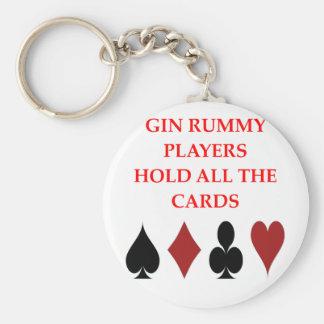gin rummy basic round button keychain