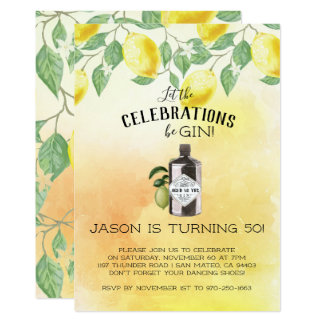Gin Themed Birthday Party Card