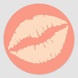 Ginger and Peach Puff Lipstick Print Classic Round Sticker