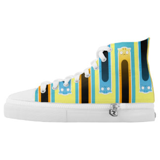 Ginger+Blue Cat striped Zipz High Top Shoes Printed Shoes