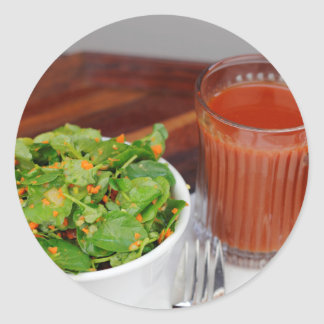Ginger Carrot Tomato Dressing Watercress Salad Classic Round Sticker