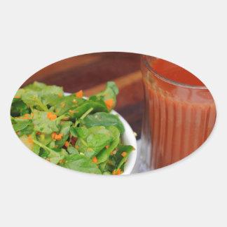 Ginger Carrot Tomato Dressing Watercress Salad Oval Sticker