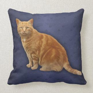 Ginger Cat Blue Designer Throw Pillow