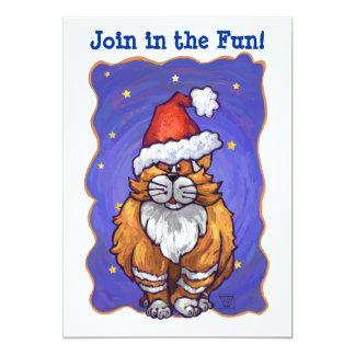 Ginger Cat Christmas 13 Cm X 18 Cm Invitation Card