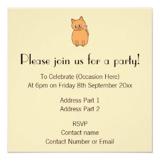 Ginger Cat. 5.25x5.25 Square Paper Invitation Card