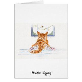 Ginger Cat / Kitten: Window Shopping Card