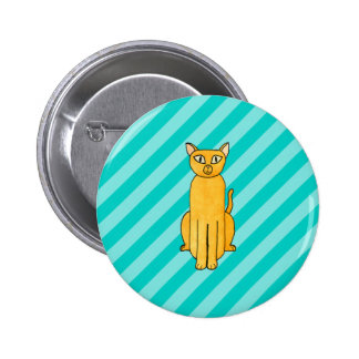 Ginger Cat on Teal Stripes Button