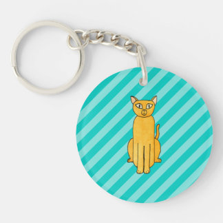 Ginger Cat on Teal Stripes. Double-Sided Round Acrylic Key Ring