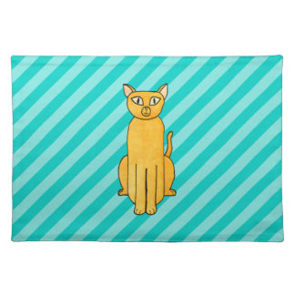 Ginger Cat on Teal Stripes. Placemats