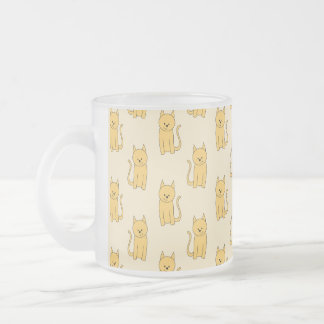Ginger Cat Pattern. Frosted Glass Mug