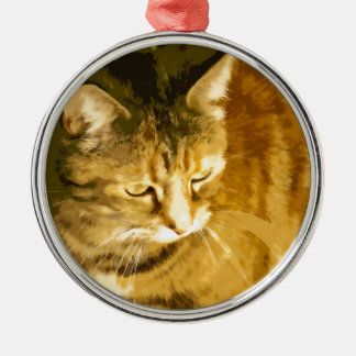 Ginger cat Silver-Colored round decoration