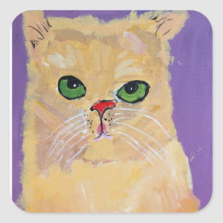 Ginger Cat Square Stickers
