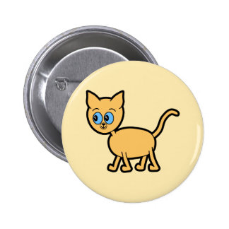 Ginger Cat with Blue Eyes Pinback Buttons