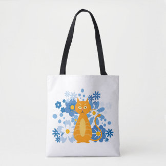 Ginger Cat with Blue Flowers Tote Bag