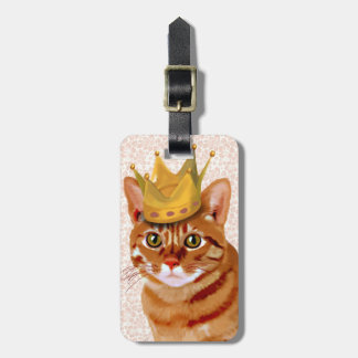Ginger Cat with Crown Portrait Luggage Tag