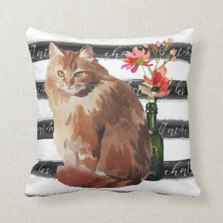Ginger Cat with Flowers and Vase Cushion