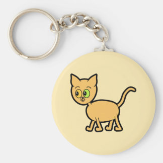 Ginger Cat with Odd Eyes. Basic Round Button Key Ring