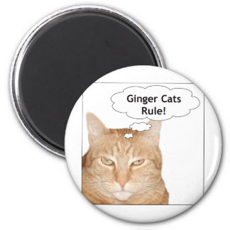 Ginger Cats Rule! 6 Cm Round Magnet