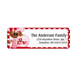 Ginger Cookie Valentine's Day Address Labels d1