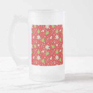 Ginger cookies Christmas pattern Frosted Glass Beer Mug