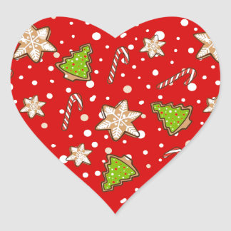 Ginger cookies Christmas pattern Heart Sticker