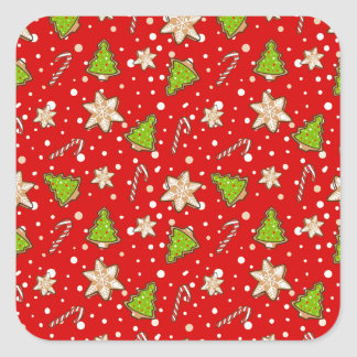 Ginger cookies Christmas pattern Square Sticker