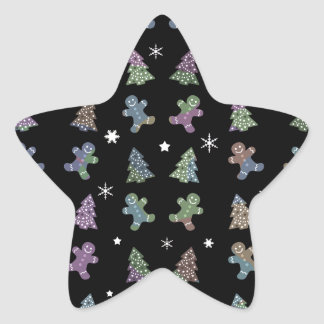 Ginger cookies Christmas pattern Star Sticker