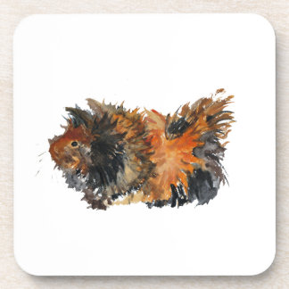 Ginger Fluffy Guinea Pig Watercolour Painting Coasters