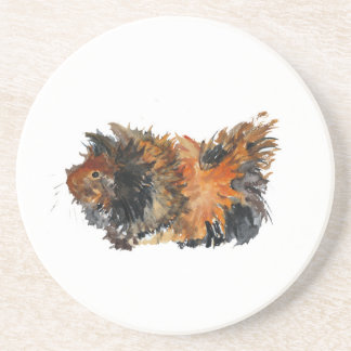 Ginger Fluffy Guinea Pig Watercolour Painting Sandstone Coaster