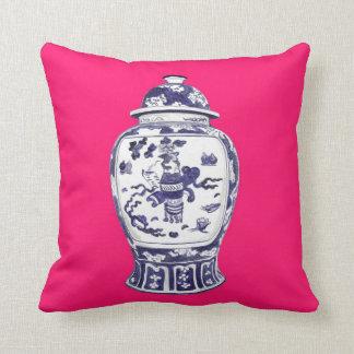 Ginger Jar on Fuschia 2 sided image Throw Pillow