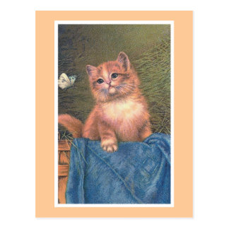 """Ginger Kitten and Butterfly"" Vintage Postcard"