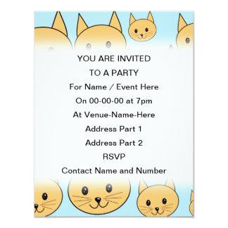 Ginger Orange Cat Design. 4.25x5.5 Paper Invitation Card