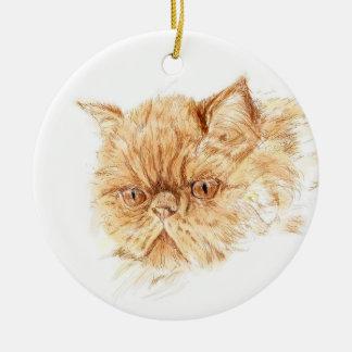 ginger persian cat ceramic ornament