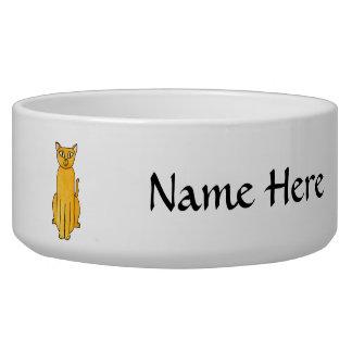 Ginger Red Shorthair Cat. Dog Food Bowls